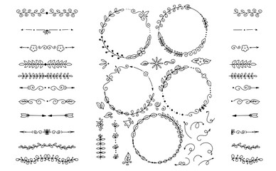Big Set of Vector Decorative Hand Drawn Design Elements for menus, posters, booklets, banners, catalogs and other design.