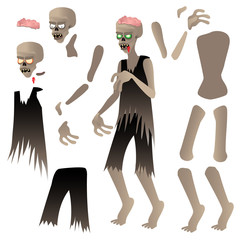 Parts of Zombie, Puzzle. Halloween Zombie Doodle Character