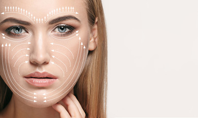 Beautiful female face isolated on grey background. Concept of bodycare, cosmetics, skincare and lifting, correction surgery, beauty and perfect skin. Colorful flyer for your advertising. Antiaging. Wall mural