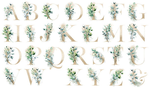 Floral alphabet, letters with watercolor flowers and leaf. Gold monogram initials perfectly for wedding invitations, greeting card, logo, poster and other. Holiday design hand painting.
