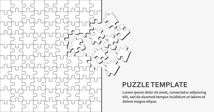 Jigsaw puzzle background with many white pieces. Abstract mosaic template