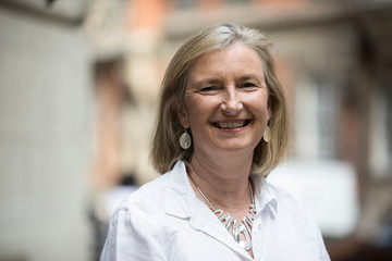 Britain's Liberal Democrat MP Sarah Wollaston, poses for a photograph as she leaves Millbank television studios in Westminster in London, Britain