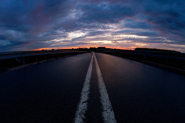 Road at sunset. Wroclaw, Poland.