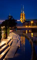 Urban landscape at night. Wroclaw, Poland.