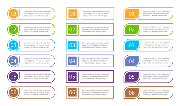 Set of 6 steps buttons, web infographic elements, options vector illustration.