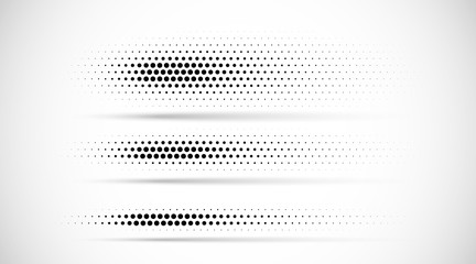 Wall Mural - Set of halftone dots gradient pattern texture isolated on white background. Straight dotted spots using halftone circle dot raster texture. Vector blot half tone collection. Divider lines.