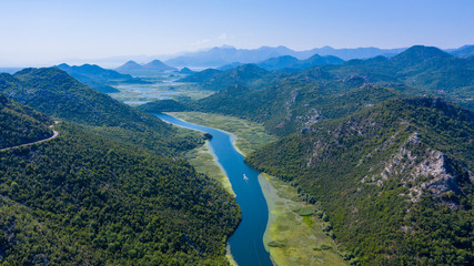 panormic view of lake skadar in Montenegro, famous site touristic with river and mountain