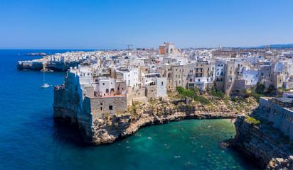 puglia region, polignano a mare, famous beach and cliff in italy