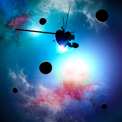 Exploration of new worlds, space and universe, new galaxies. Planets in backlight. Solar system. Probe, Voyager