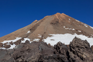 View of Mount Teide and it's surrounding lava fields