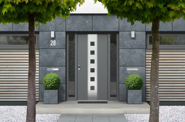 3D rendering of modern urban real estate bungalow home facade with designer front door, yard with white gravel and trees Fototapete