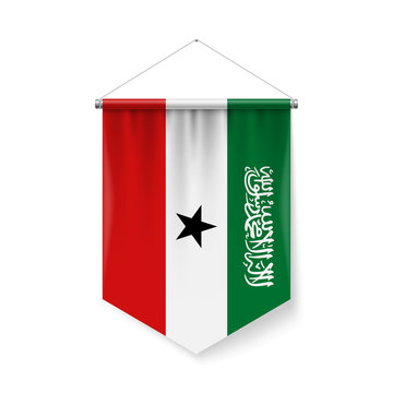 Vertical Pennant Flag of Somaliland as Icon on White Background with Shadow Effects. Patriotic Sign in Official Color Scheme, Flag with Metallic Poles Hanging on the Rope