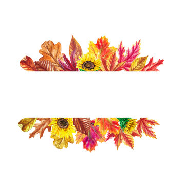 Watercolor autumn banner with  leaves and sunflowers isolated on white background. Illustration for greeting cards, wedding invitations, floral poster and decorations.