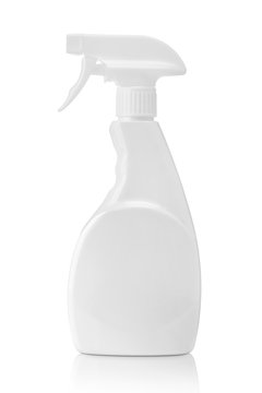 White blank plastic spray bottle isolated on white with clipping path. Packaging mockup.