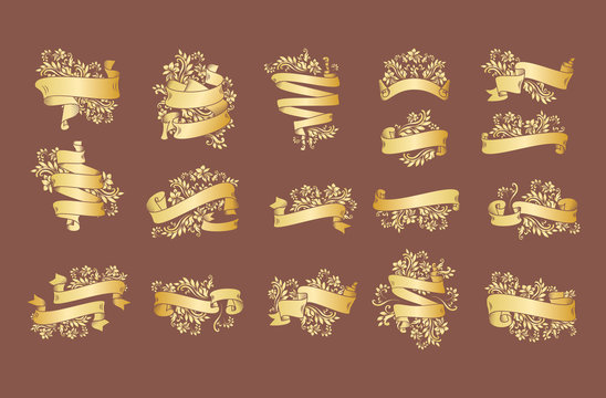 Gold vintage ribbon banners with leaves and flowers, drawing in engraving style. Golden banner ribbons with ornament on the black background. Premium design set for greetings, anniversary.