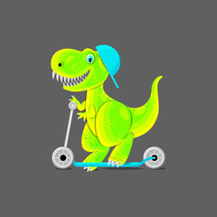 Dinosaur teen ride a scooter. Funny cartoon characters