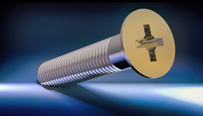 Close-up on screw 3d rendering