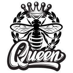 Vector pattern with flying bee, crown and calligraphic inscription - queen