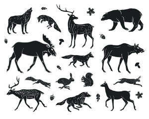 Vector black hand drawn sketch set collection of forest animals isolated on white background