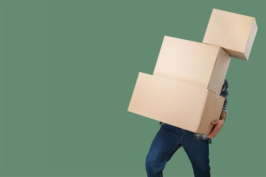 Carrying man stack boxes delivery background copy