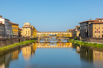 historic Ponte Veccio in Florence at river Arno