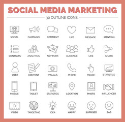 Social Media Marketing Icons - Like, Comment, Message, Mention, Location, Targeting, Share, Audience