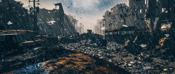 Fototapeten Schwarz Apocalypse survivor concept, Ruins of a city. Apocalyptic landscape 3d render , 3d illustration concept