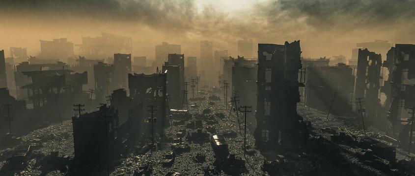 Apocalypse survivor concept, Ruins of a city. Apocalyptic landscape 3d render , 3d illustration concept