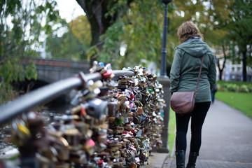Wedding lock bridge at the Bastion Hill park in Riga