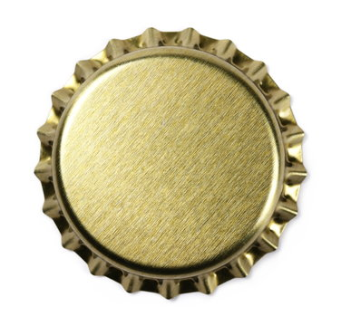 New golden bottle cap for beer isolated on white, top view, macro