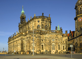 Dresden Cathedral of the Holy Trinity or Hofkirche and Dresden Castle, Saxony, Germany