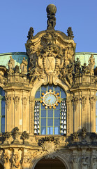 Dresden, Germany - Zwinger palace or castle in city of Dresden built in baroque style. Glockenspiel (sort of musical instrument with bells) Pavilion of Zwinger