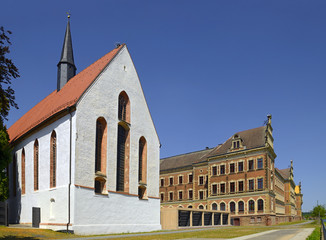The monastery church Grimma and the neighboring high school St. Augustin. Grimma is a town in the Free State of Saxony, Central Germany, on the left bank of the Mulde