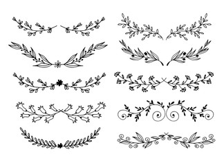 Hand drawn flowers and leaves vector set, floral doodle elements isolated on white background