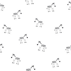 Cute zebra black and white seamless pattern. Vector hand drawn illustration. Nursery background for kids room, clothes or paper design. Sketch style minimalistic illustration.