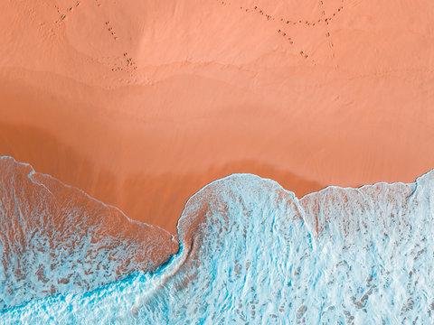 Aerial view of ocean surf on Terrigal Beach, New South Wales, Australia