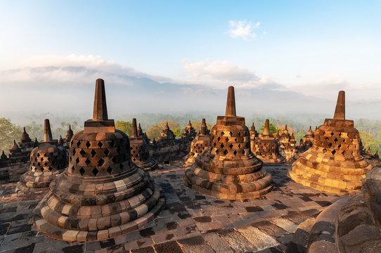 Morning light over Candi Borobudur temple in Yogjakarta, Indonesia.
