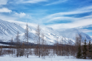 Winter landscape with mountains, Yamal, Russia