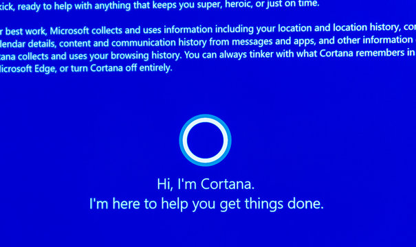 PARIS, FRANCE - JAN 7, 2016: Hi, I'm Cortana -message on computer display during windows 10 upgrade. Cortana is Microsoft personal assistant software - direct Apple's SIRI concurent