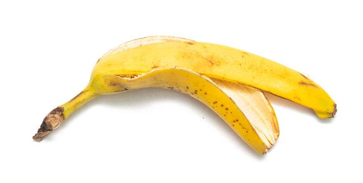 banana peel on a white background, isolate