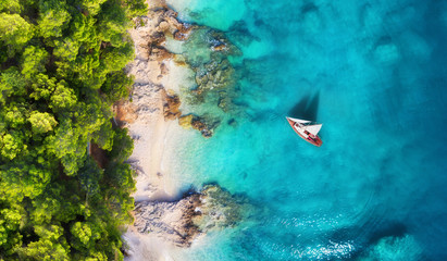 Tuinposter Landschappen Croatia. Panoramic coast and yacht as a background from top view. Turquoise water background from top view. Beach and waves. Travel - image