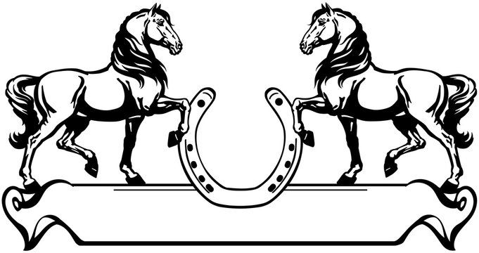 two horses in profile. Logo, banner, emblem with horseshoe and ribbon scroll. Black and white side view vector