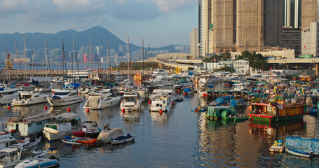 Fototapete - Typhoon shelter at sunset