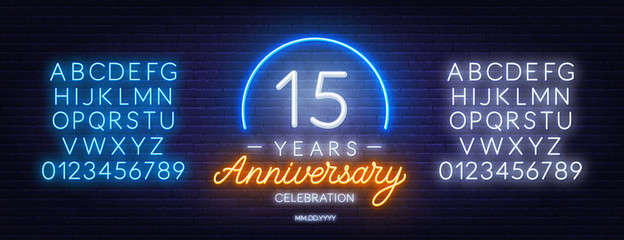 15th anniversary celebration neon sign on dark background. Neon alphabet . Template for invitation or greeting card.