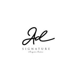 AD Signature letter Logo Template Vector