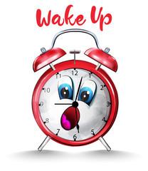 Alarm clock back to school funny cartoon character Vector watercolors