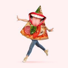 Fast food. Human body as a pizza's slice with big mouth running on coral background. Negative space to insert your text. Modern design. Contemporary art collage. Concept of nutrition, emotions, taste.