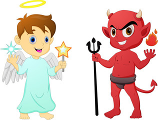 Cartoon little angel and devil