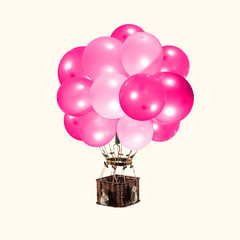 Fly like you are weightless. Balloon as pink balloons on yellow background. Negative space to...
