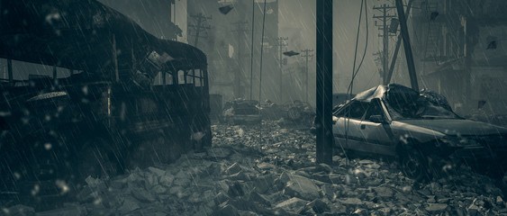 Apocalypse survivor concept, Ruins of a city. Apocalyptic landscape 3d render , 3d illustration concept Wall mural
